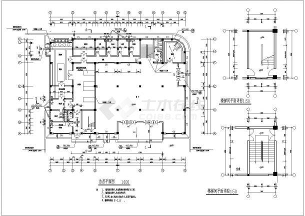 苏州某地2层餐厅全套建筑施工设计cad图【平立剖 节点大样 楼梯卫生间平面】-图二