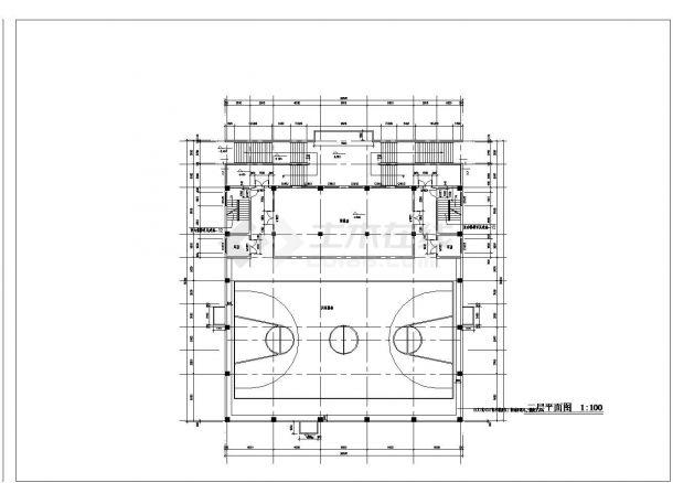 3层学校体育馆建筑全套设计施工图-图一