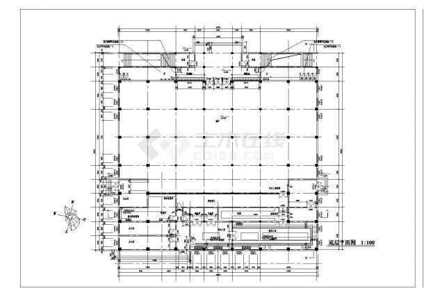 3层学校体育馆建筑全套设计施工图-图二