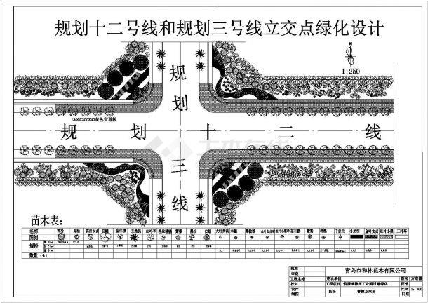 某工业园道路施工标准段立交点景观绿化设计CAD方案图-图一