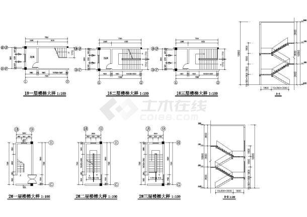 某地3层厂房建筑平立剖面设计cad施工图-图一