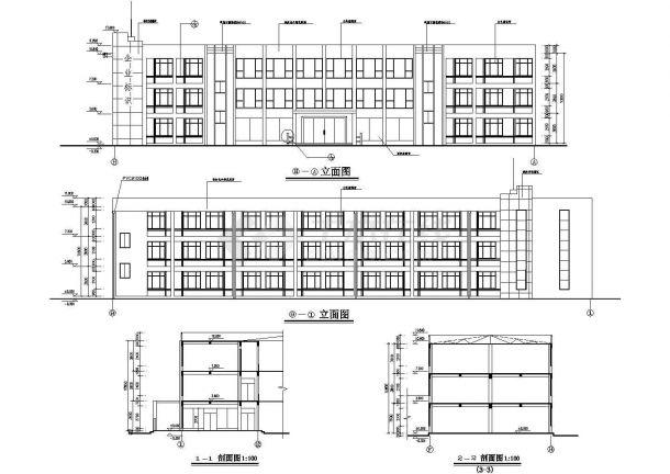 某地3层厂房建筑平立剖面设计cad施工图-图二