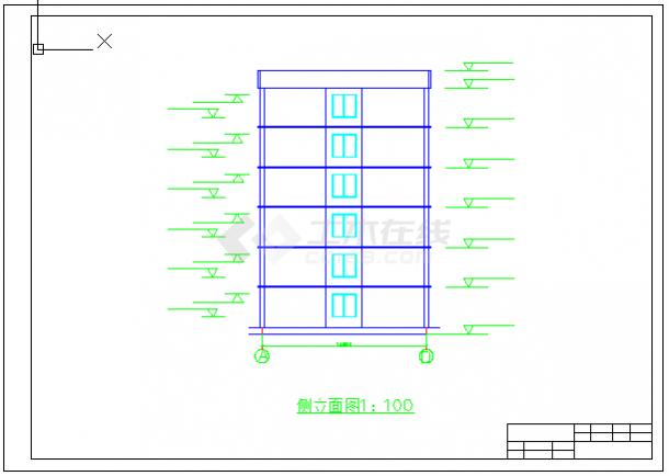 【6层】3100平米左右一字型框架办公楼cad毕业设计(含建筑结构图、计算书)-图一