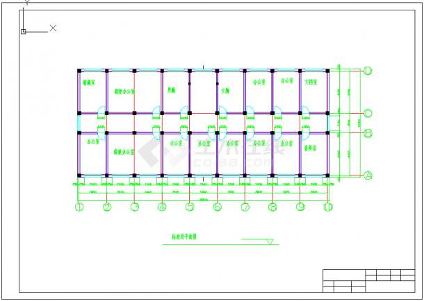 【6层】3100平米左右一字型框架办公楼cad毕业设计(含建筑结构图、计算书)-图二