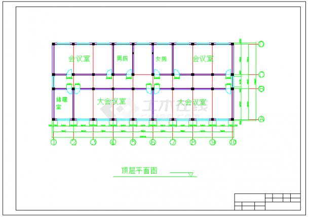 【6层】3116.88平米框架办公楼cad毕业设计(计算书、建筑、结构施工图)-图一