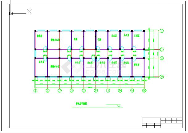 【6层】3116.88平米框架办公楼cad毕业设计(计算书、建筑、结构施工图)-图二
