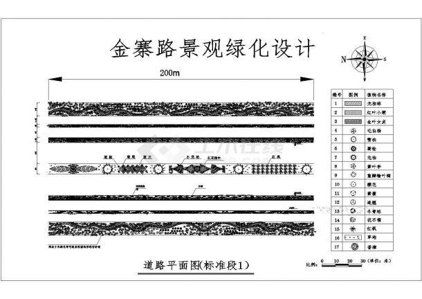 金寨路景观绿化设计cad施工平面图-图二