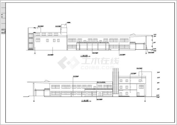 某地3层学校食堂全套建筑施工设计cad图【平立剖 门窗大样 洗手间详图】-图一