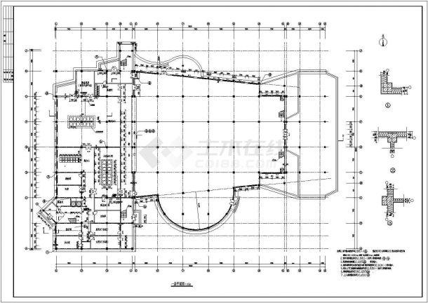 某地3层学校食堂全套建筑施工设计cad图【平立剖 门窗大样 洗手间详图】-图二