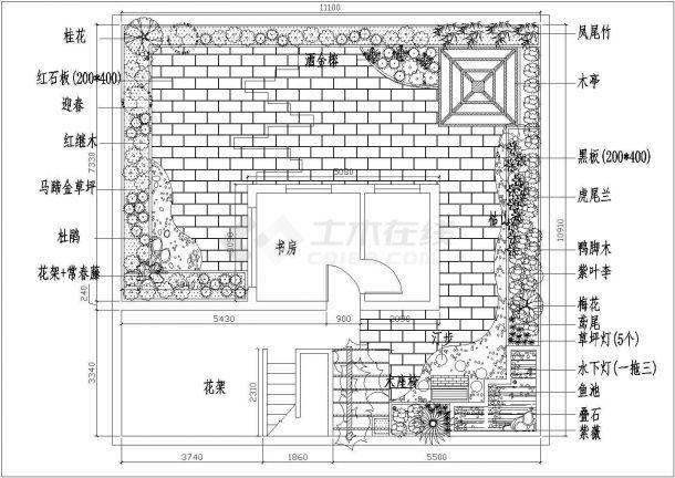 某现代风格私人别墅屋顶花园绿化设计cad施工平面图纸-图一
