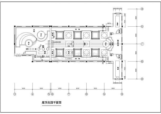 某小高层住宅楼屋顶花园绿化规划设计cad全套施工图-图二