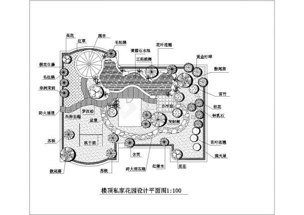 某私家楼顶花园绿化规划设计cad施工平面图-图一