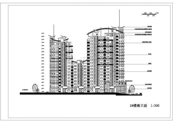 某上海市城市花园小区住宅楼建筑施工图纸-图一