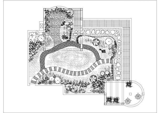 某多层框混结构住宅楼屋顶花园绿化规划设计cad施工平面图-图一