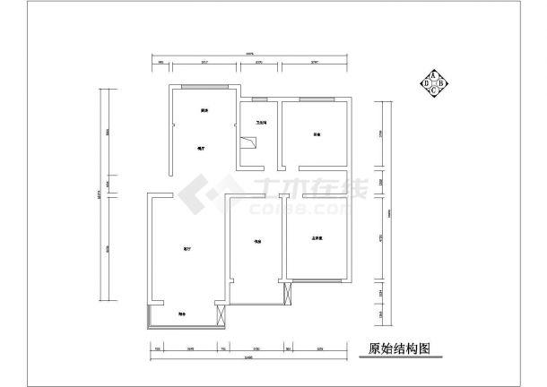 现代红色调风格住宅楼施工全套设计cad图-图一