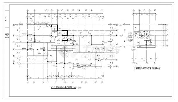 某高层住宅楼的给排水施工CAD图纸-图一