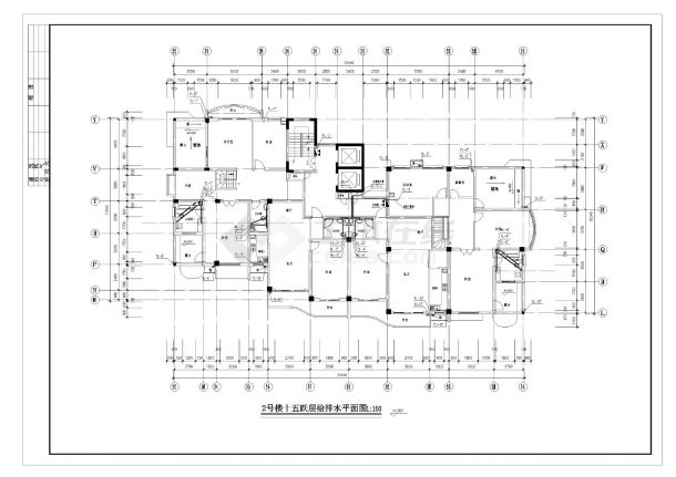 某高层住宅楼的给排水施工CAD图纸-图二