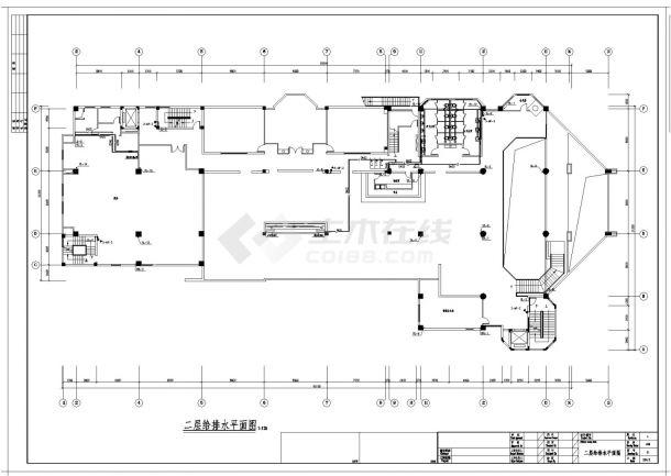 江苏某四星级大酒店给排水施工CAD图纸-图一