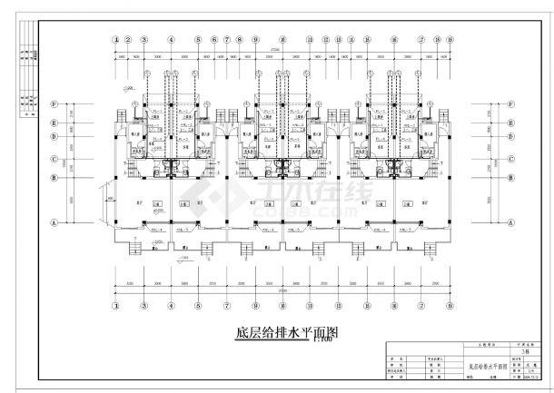 某三层别墅给排水施工CAD图纸-图一