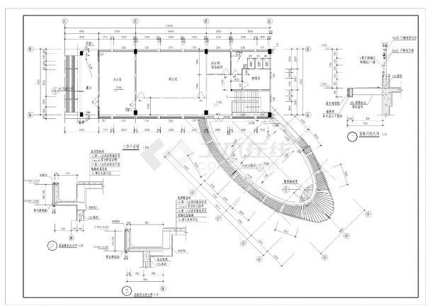 某办公大楼设计施工CAD图纸-图二
