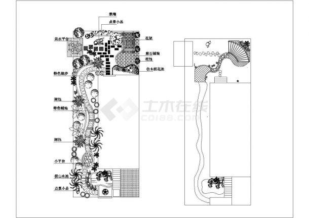 某长方形别墅庭院绿化规划设计cad施工总平面图-图一