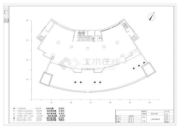 珠海某银行大楼泛光照明设计CAD图纸-图一