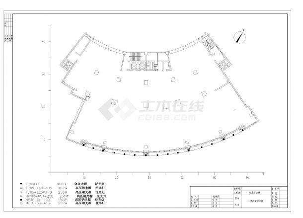 珠海某银行大楼泛光照明设计CAD图纸-图二
