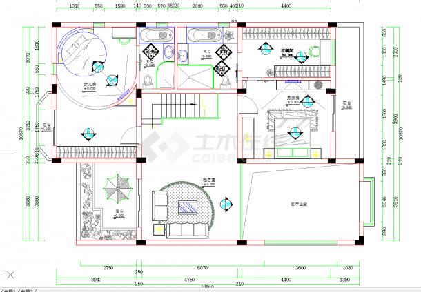 某地单层现代风格三居建筑设计cad图纸含效果-图一