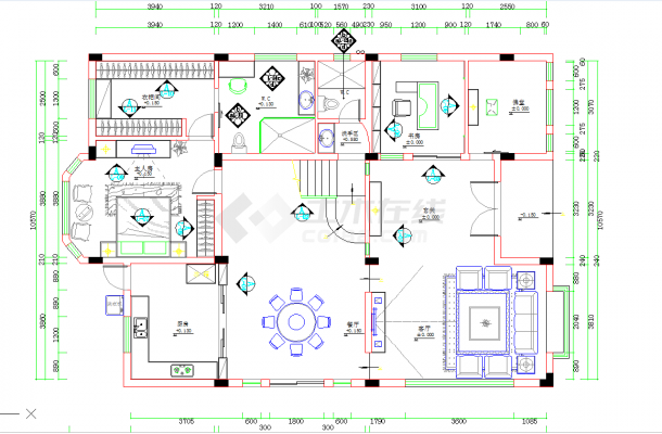 某地单层现代风格三居建筑设计cad图纸含效果-图二