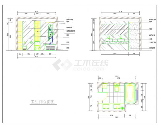 某地单层现代两居样板间方案含效果建筑设计cad图纸-图一