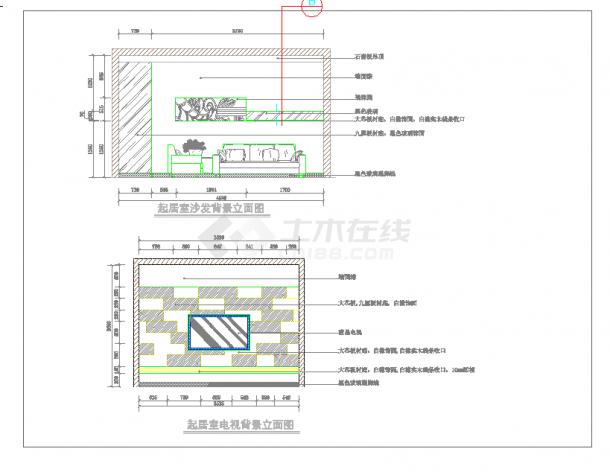 某地单层现代两居样板间方案含效果建筑设计cad图纸-图二