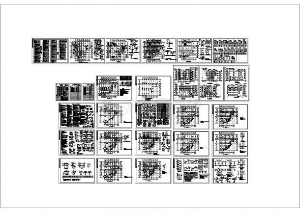五套办公楼建筑设计施工cad图纸-图一