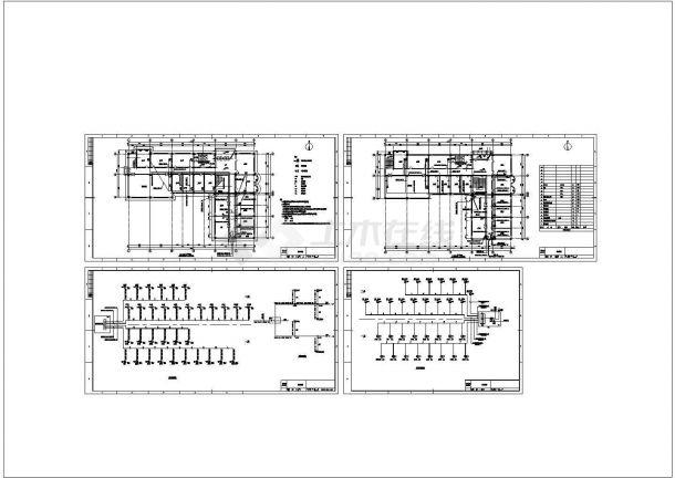 五套办公楼施工弱点平面cad图纸-图一