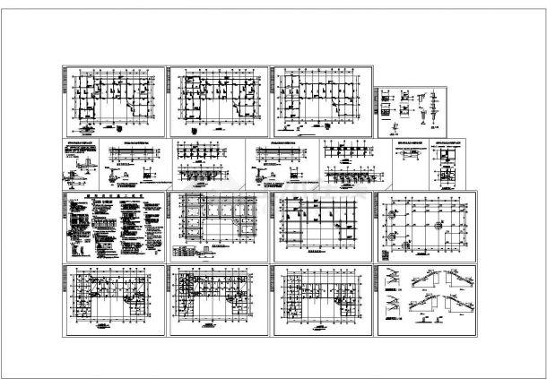 五套办公楼施工弱点平面cad图纸-图二