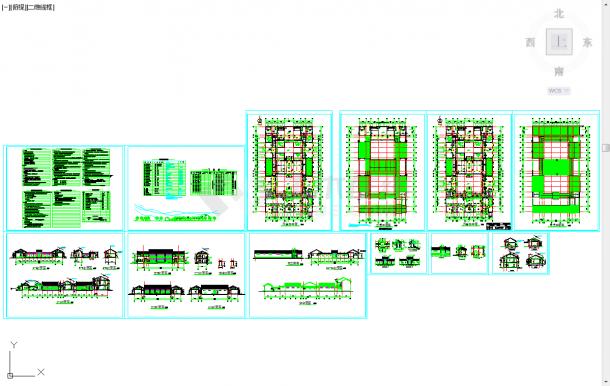 五套四合院常用cad排水施工图纸-图一