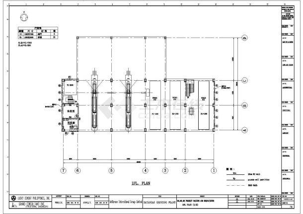 某多层钢框架结构工业厂房设计cad全套建筑施工图(含结构设计,含设计说明,全英文标注)-图二