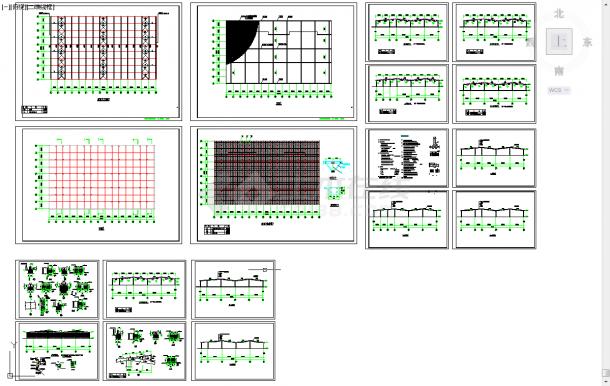 五套钢结构厂房cad设计施工图纸-图一