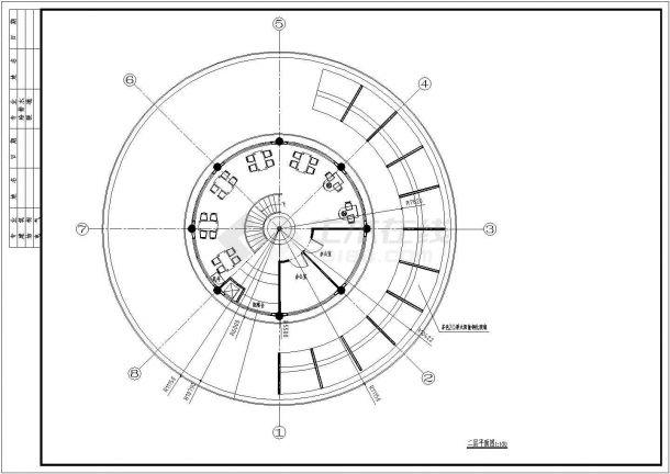 某地2层圆形经典中餐厅建筑方案设计cad图【平立剖 通风示意图(无屋顶平面)】-图一
