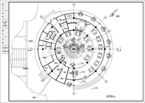 某地2层圆形经典中餐厅建筑方案设计cad图【平立剖 通风示意图(无屋顶平面)】-图二