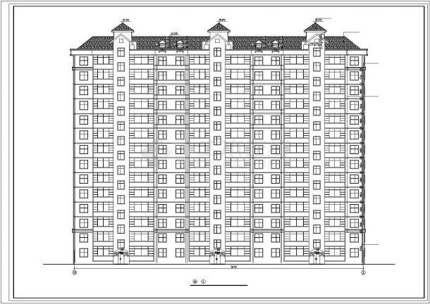秦皇岛市建设路某居住区14层框架结构住宅楼全套建筑设计CAD图纸-图二