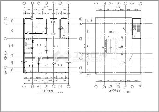某三层砖混结构私人住宅楼设计cad全套建施图(含结构设计,含设计说明)-图一