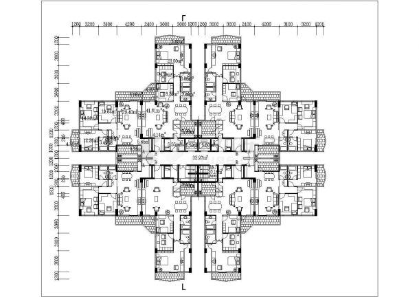 兰州市西河路某小区14层框架结构住宅楼平立面设计CAD图纸(含阁楼)-图二