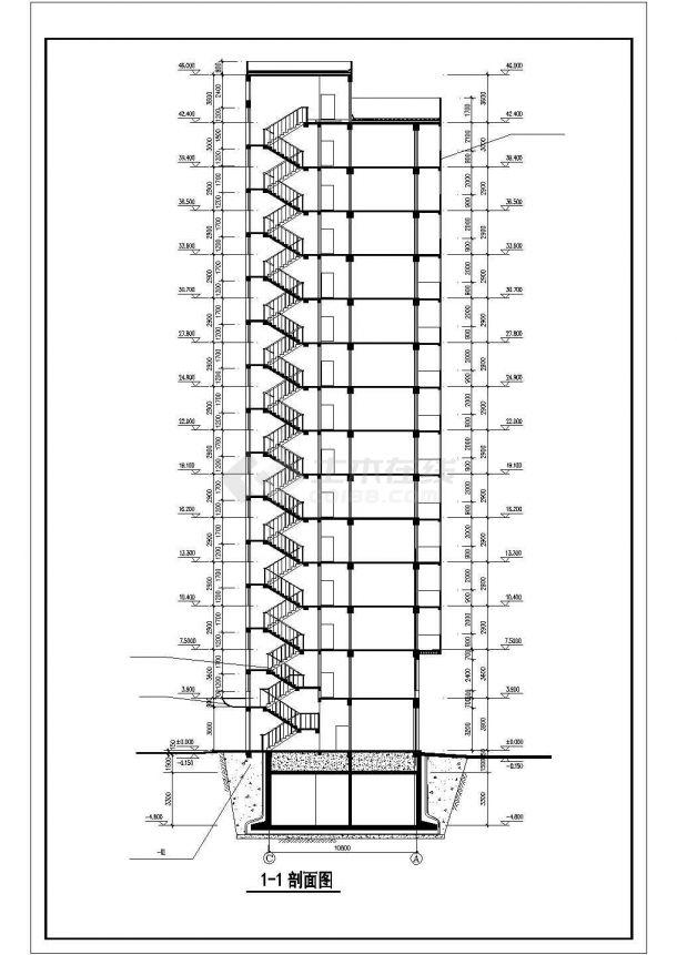 北京市丰台区某居住区14层框架结构住宅楼全套建筑设计CAD图纸-图二