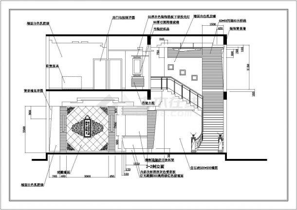 某地区别墅建筑装饰方案设计施工CAD图纸-图二