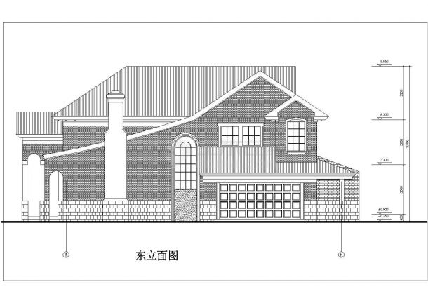 某地区现代多层小别墅方案设计施工CAD图纸-图二
