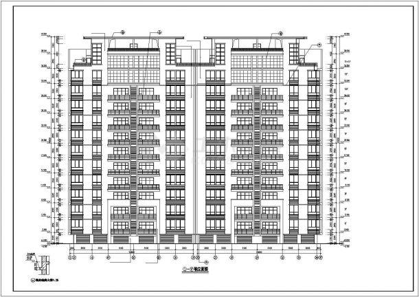 丽江市某小区7100平米11层框架结构住宅楼建筑设计CAD图纸(含架空层)-图二
