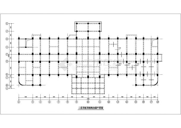 某医院门诊楼综合楼加固改造结构施工CAD图-图二