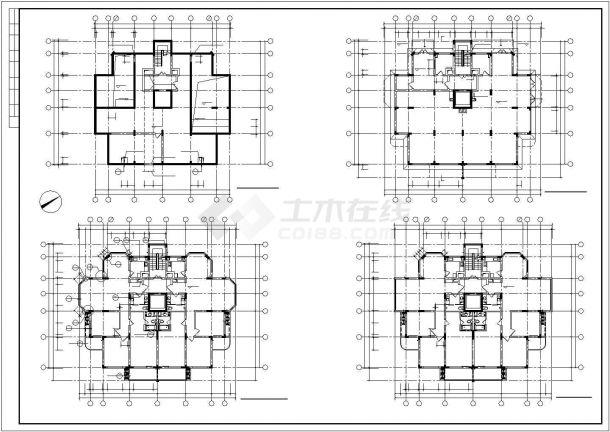 3450平米10层框架结构住宅楼建筑设计CAD图纸(含地下层和设备层)-图一