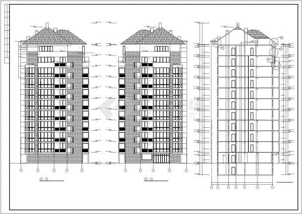 3450平米10层框架结构住宅楼建筑设计CAD图纸(含地下层和设备层)-图二