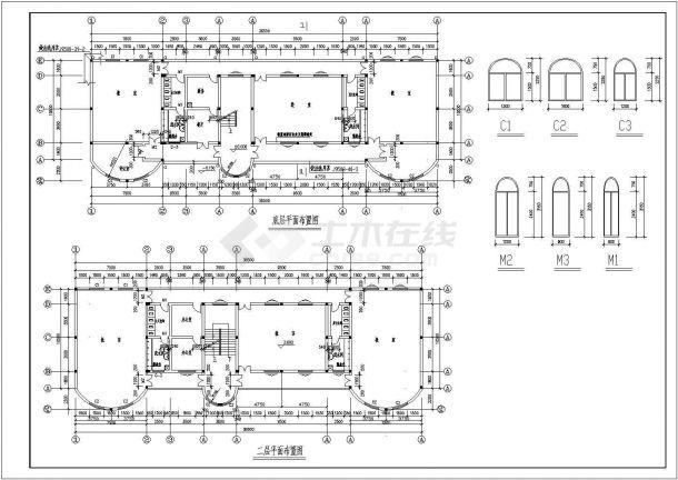 云海花园三层砖混结构幼儿园教学楼设计cad全套建筑施工图纸(含设计说明,含结构设计)-图二